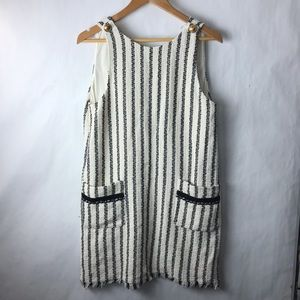 Zara tweed dress ivory black stripe Large NEW